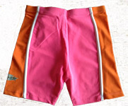 Sun Protection Kids Swim Shorts Pink Orange White stripe 2y and 8y